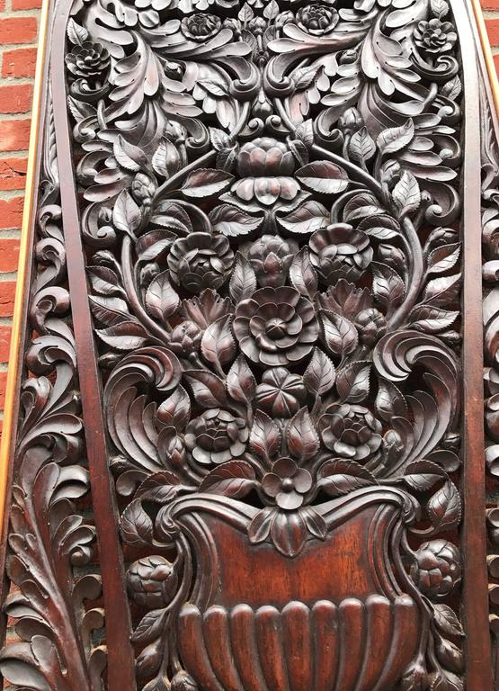 English Antique and Incredibly Detailed, Large Hand Carved Mahogany Wall Panel/Plaque For Sale