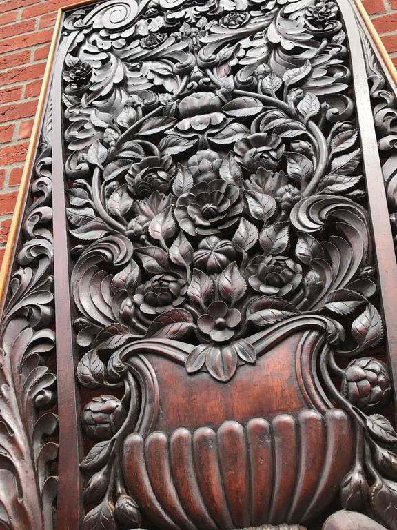 Hand-Carved Antique and Incredibly Detailed, Large Hand Carved Mahogany Wall Panel/Plaque For Sale