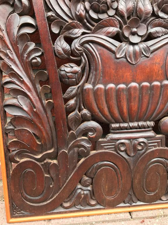 19th Century Antique and Incredibly Detailed, Large Hand Carved Mahogany Wall Panel/Plaque For Sale