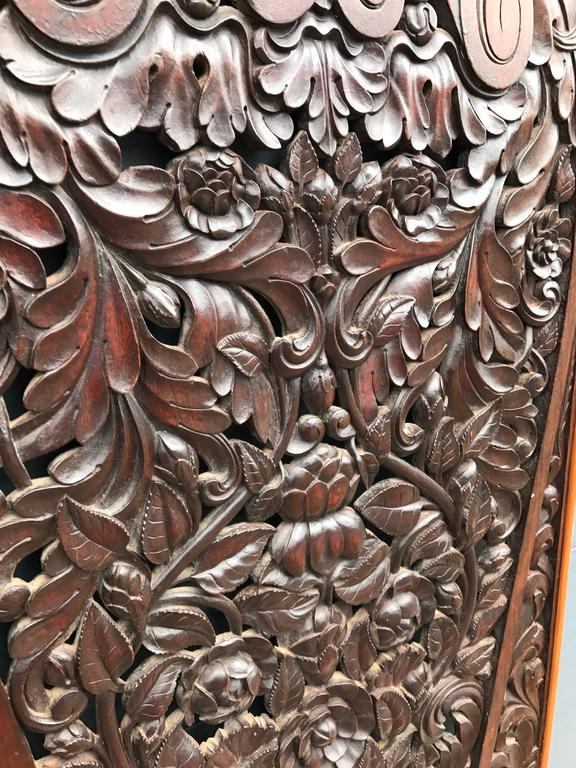 Antique and Incredibly Detailed, Large Hand Carved Mahogany Wall Panel/Plaque For Sale 1