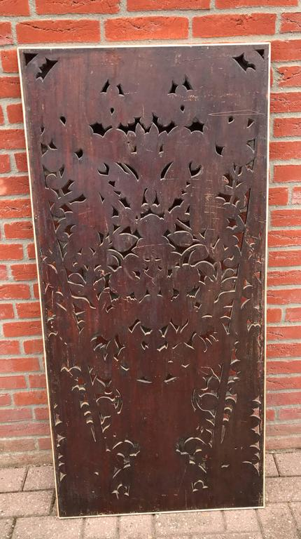 Antique and Incredibly Detailed, Large Hand Carved Mahogany Wall Panel/Plaque For Sale 2