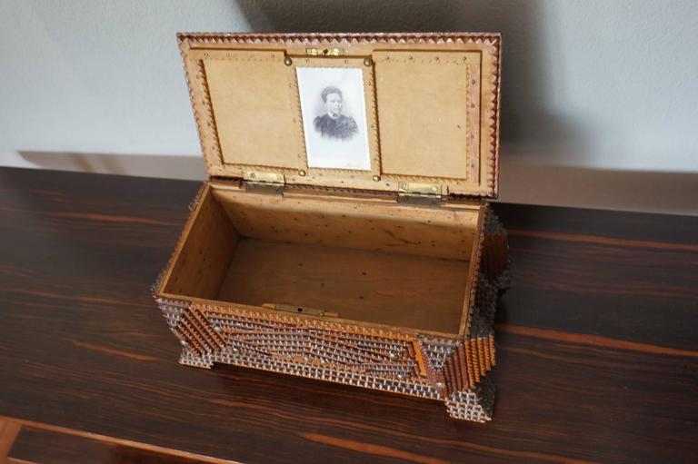 Antique Folk Art Handcrafted Gothic Revival Tramp Art Sewing Box with Picture For Sale 1