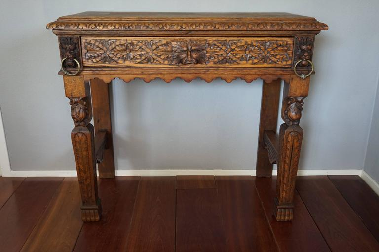 European 19th Century Hand Carved Side Table With Drawer, Lion Heads, Green  Man