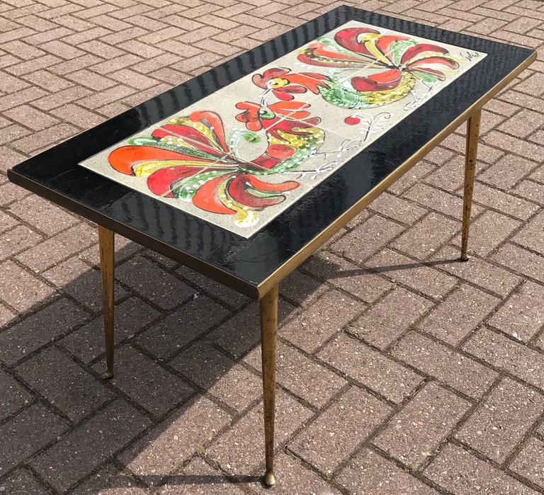 Italian Brass And Tile Coffee Or Cocktail Table With Hand