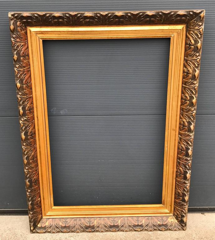 Large And Decorative Gilded Antique Painting Or Mirror