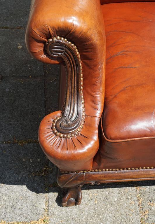 Antique Leather Chippendale Style Wingback Chair With Hand