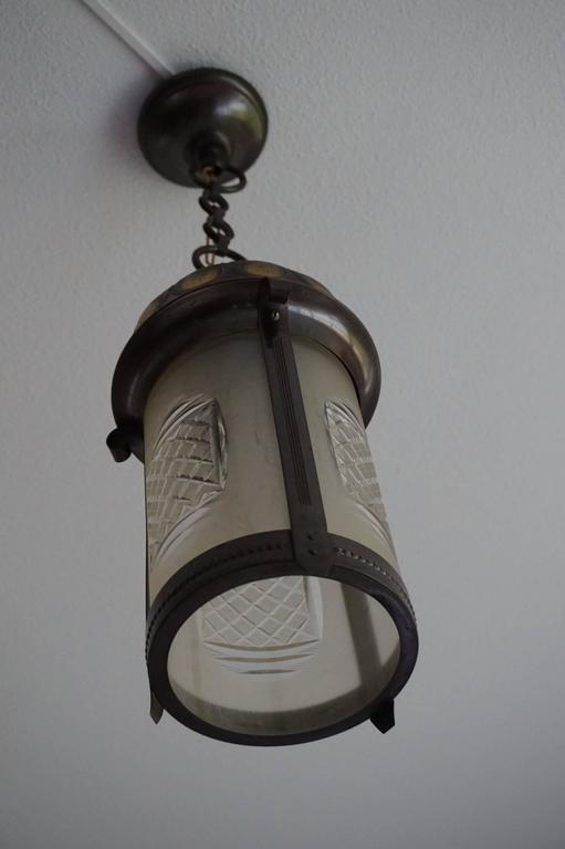 Dutch Early 20th Century Art Nouveau Brass and Cut Glass Pendant Lamp or Lantern For Sale