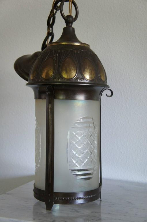 Early 20th Century Art Nouveau Brass and Cut Glass Pendant Lamp or Lantern In Good Condition For Sale In Lisse, NL