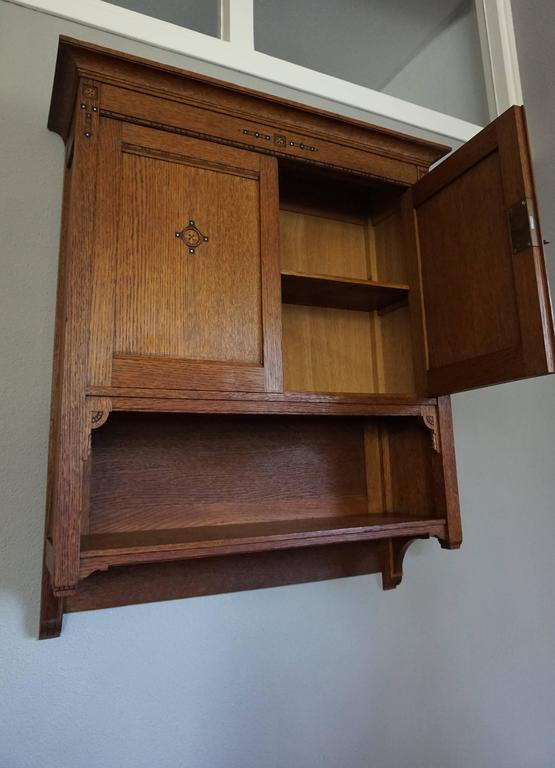 Arts And Crafts Museum Quality Wall Cabinet With Mother Of