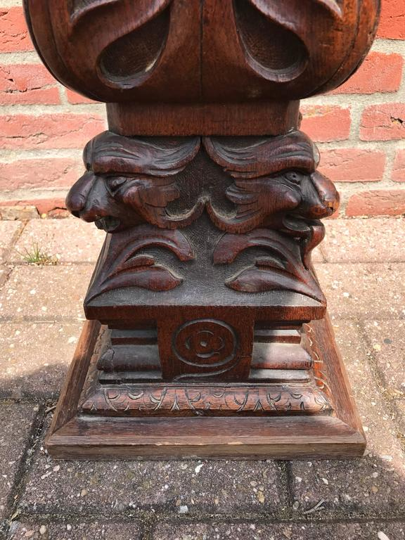 Impressive Hand Carved Oak Gothic Revival Display Pedestal