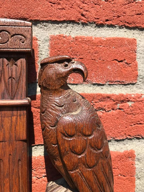 European Unique Arts & Crafts Hand-Carved Wall Barometer with a Pair of Eagle Sculptures For Sale