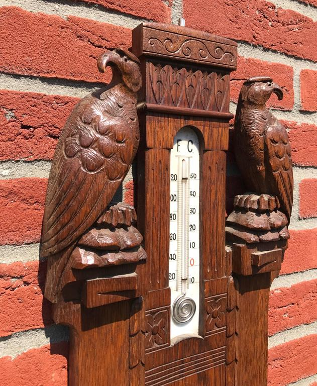 Unique Arts & Crafts Hand-Carved Wall Barometer with a Pair of Eagle Sculptures For Sale 2