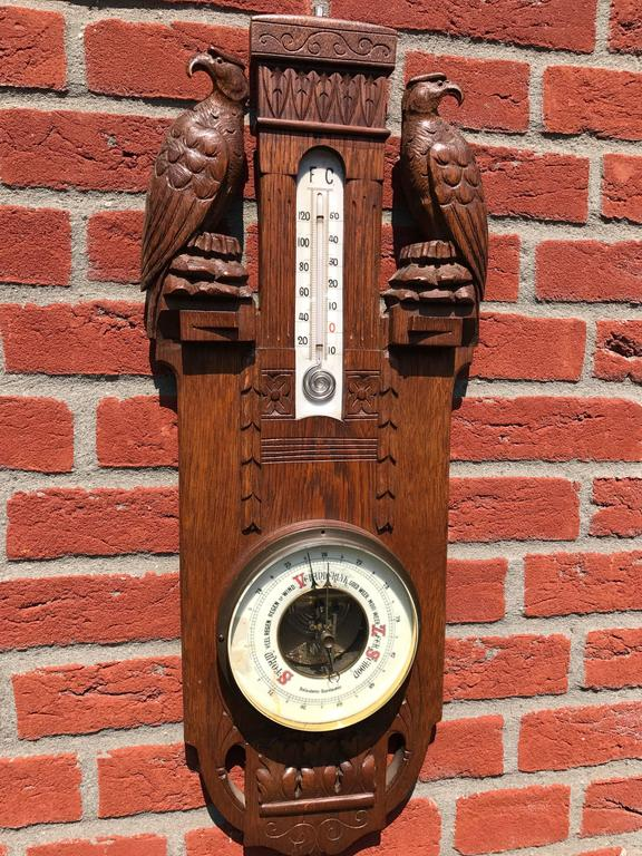Unique Arts & Crafts Hand-Carved Wall Barometer with a Pair of Eagle Sculptures For Sale 3