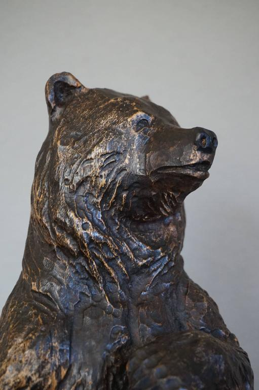 Antique Hand Carved Standing Black Forest Bear And Sitting