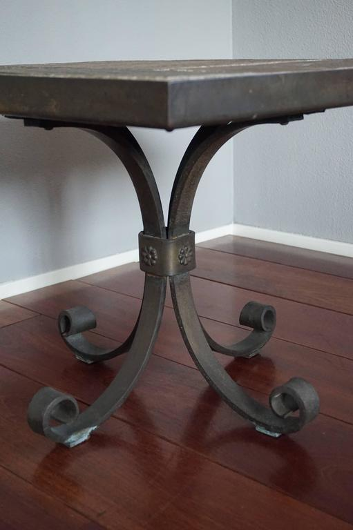 Unique Brutalist End Or Coffee Table With Slate Stone Top And Wrought Iron Base For Sale At 1stdibs