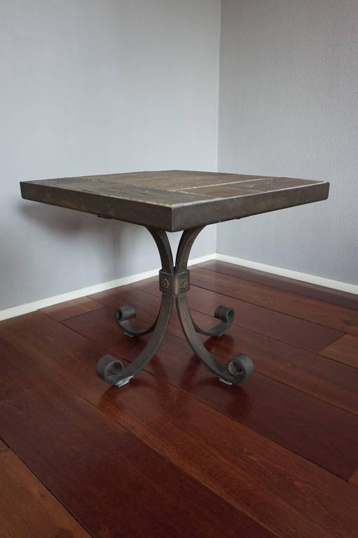 Unique Brutalist End Or Coffee Table With Slate Stone Top And Wrought Iron Base For