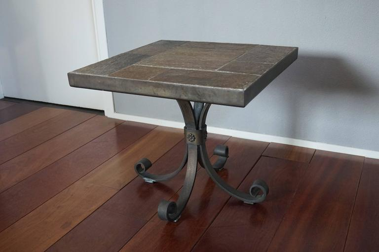 Brass Unique Brutalist End or Coffee Table with Slate Stone Top & Wrought Iron Base For Sale