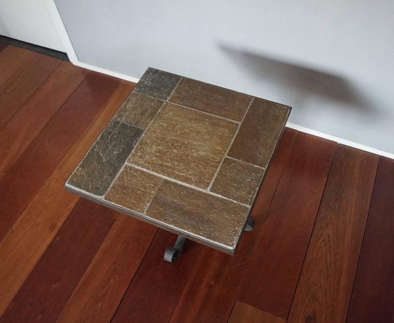 Unique Brutalist End or Coffee Table with Slate Stone Top & Wrought Iron Base For Sale 2