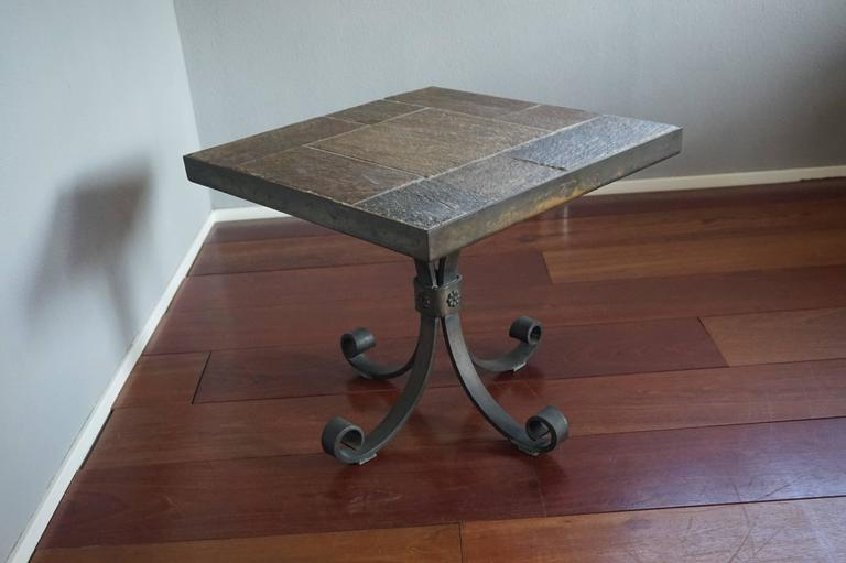 Unique Brutalist End or Coffee Table with Slate Stone Top & Wrought Iron Base For Sale 3