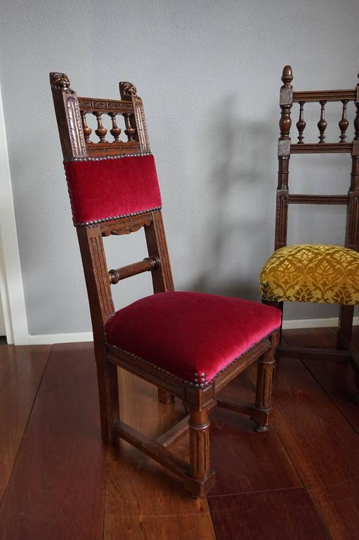 European Two Excellent & Rare Handcrafted Solid Oak Chairs for Small Children or Dolls For Sale