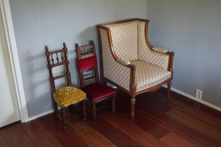 Cute and very decorative 'pair' of handcrafted chairs for small children.  Antique children's chairs always bring a smile to our face and when they are in this striking condition it is hard for us to not buy them. When they are in this pristeen