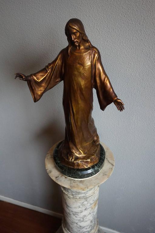 Antique & Mint Condition Gilt Bronze Sculpture of Christ by Paul Gasq of France For Sale 4