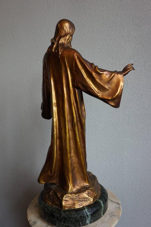 Antique & Mint Condition Gilt Bronze Sculpture of Christ by Paul Gasq of France In Excellent Condition For Sale In Lisse, NL