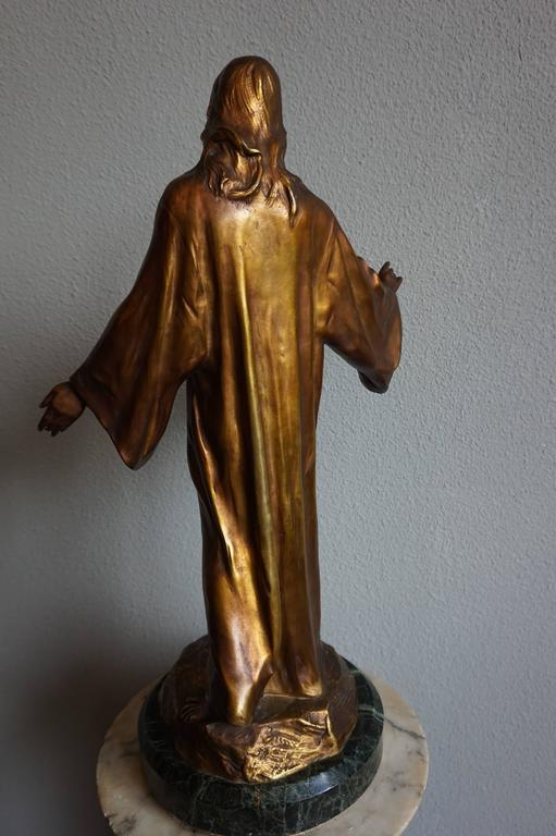 Hand-Crafted Antique & Mint Condition Gilt Bronze Sculpture of Christ by Paul Gasq of France For Sale