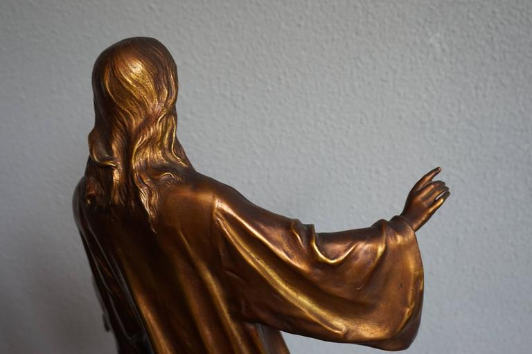 20th Century Antique & Mint Condition Gilt Bronze Sculpture of Christ by Paul Gasq of France For Sale