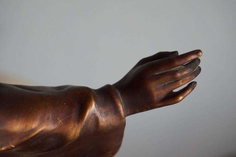 Antique & Mint Condition Gilt Bronze Sculpture of Christ by Paul Gasq of France For Sale 1