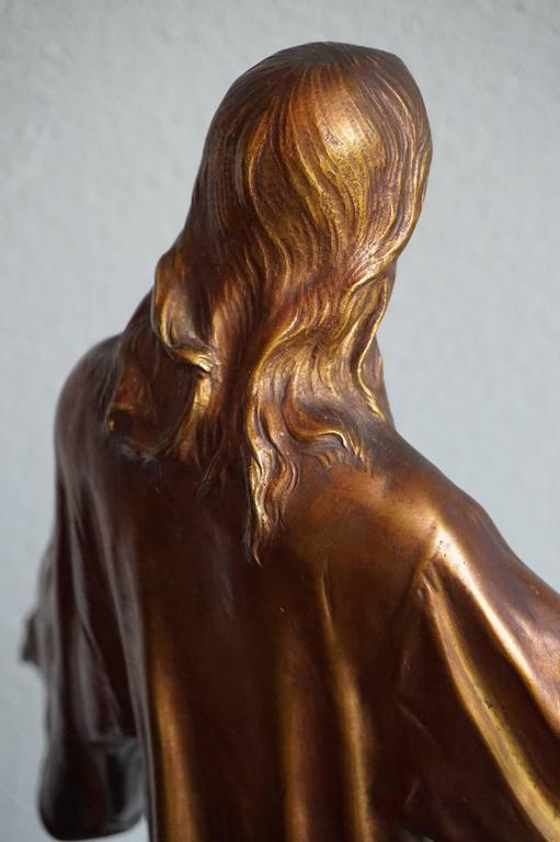 Antique & Mint Condition Gilt Bronze Sculpture of Christ by Paul Gasq of France For Sale 2
