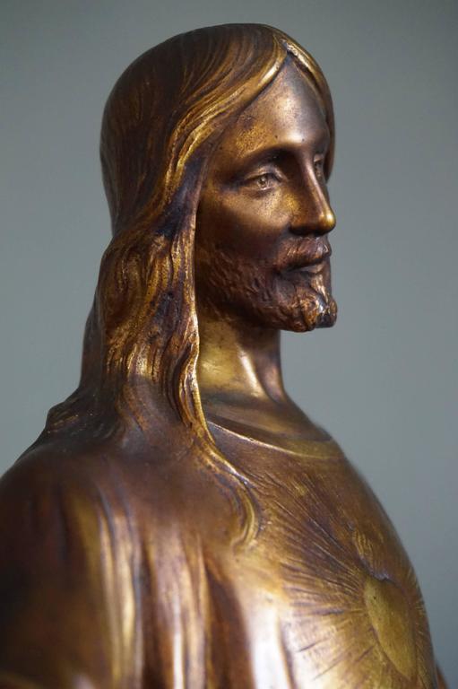 Antique & Mint Condition Gilt Bronze Sculpture of Christ by Paul Gasq of France For Sale 3