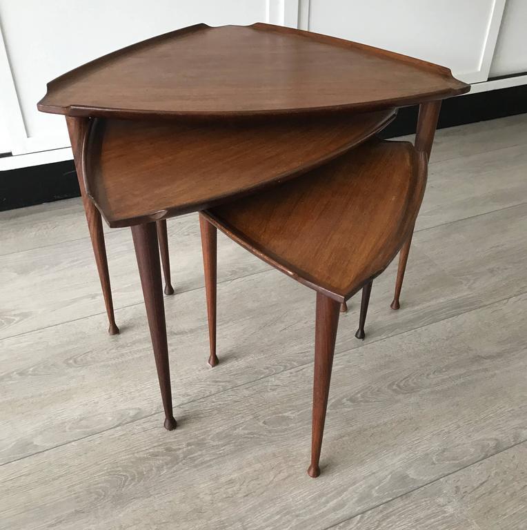 Mid-Century Modern Danish Teak Guitar Pick Triangle Nest of Tables Vintage Set 2