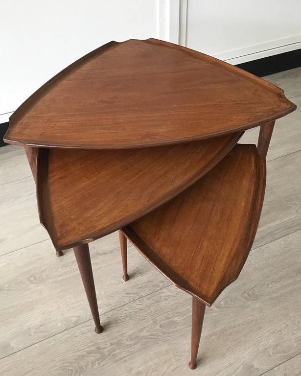 Mid-Century Modern Danish Teak Guitar Pick Triangle Nest of Tables Vintage Set 3