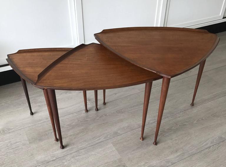 Mid-Century Modern Danish Teak Guitar Pick Triangle Nest of Tables Vintage Set 4