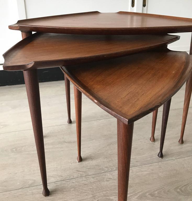 Mid-Century Modern Danish Teak Guitar Pick Triangle Nest of Tables Vintage Set 7