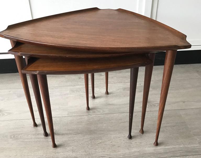 Mid-Century Modern Danish Teak Guitar Pick Triangle Nest of Tables Vintage Set 9
