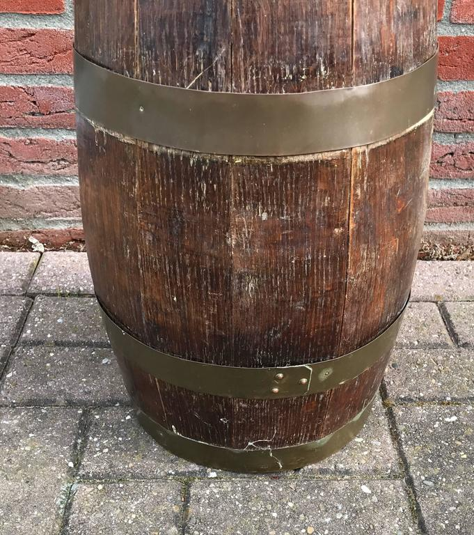 Vintage Round Shaped Solid Oak Barrel Umbrella Stand W Handcrafted