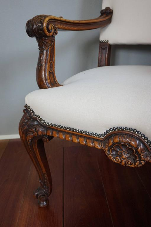 European Antique Stunning & Hand-Carved Rococo Revival Armchair with Perfect Upholstery For Sale