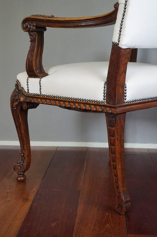 Antique Stunning & Hand-Carved Rococo Revival Armchair with Perfect Upholstery For Sale 1