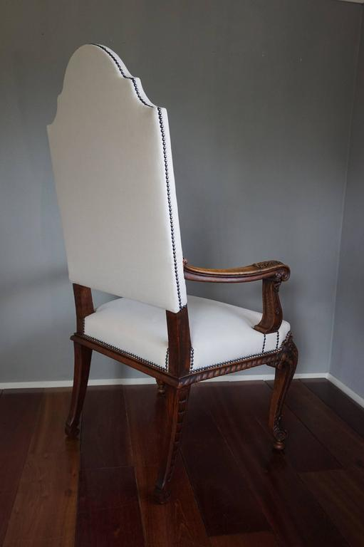 Antique Stunning & Hand-Carved Rococo Revival Armchair with Perfect Upholstery For Sale 2