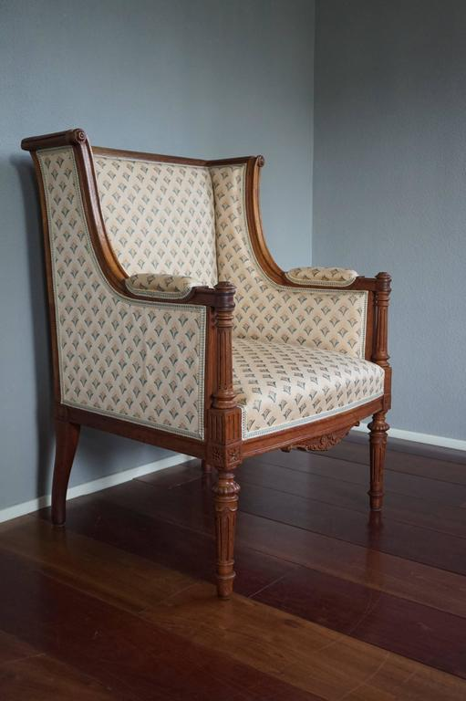 Stunning antique chair from a private collection.  This week we are offering some amazing chairs that we acquired from a private antique collection from the Hague in the Netherlands. Here we have a unique and small size ladies Bergere and the design