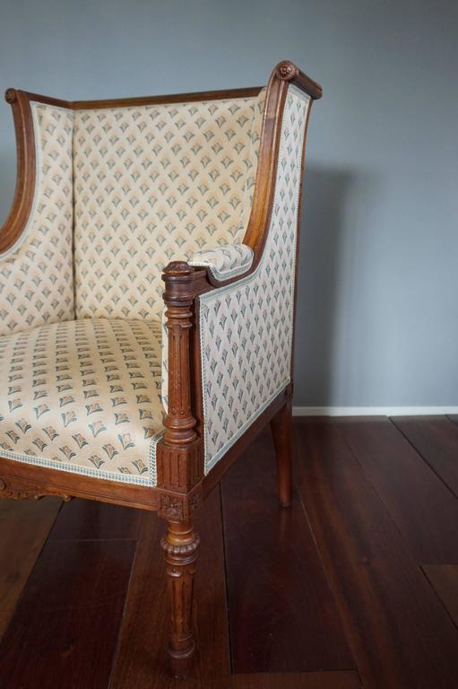 Hand-Carved Antique Louis XVI Style Hand Carved Nutwood Ladies Bergere Small Armchair  For Sale