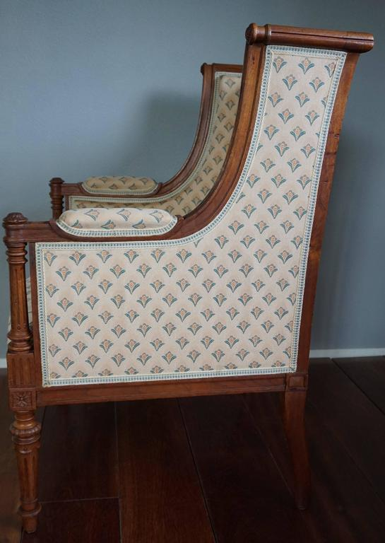 Antique Louis XVI Style Hand Carved Nutwood Ladies Bergere Small Armchair  For Sale 1