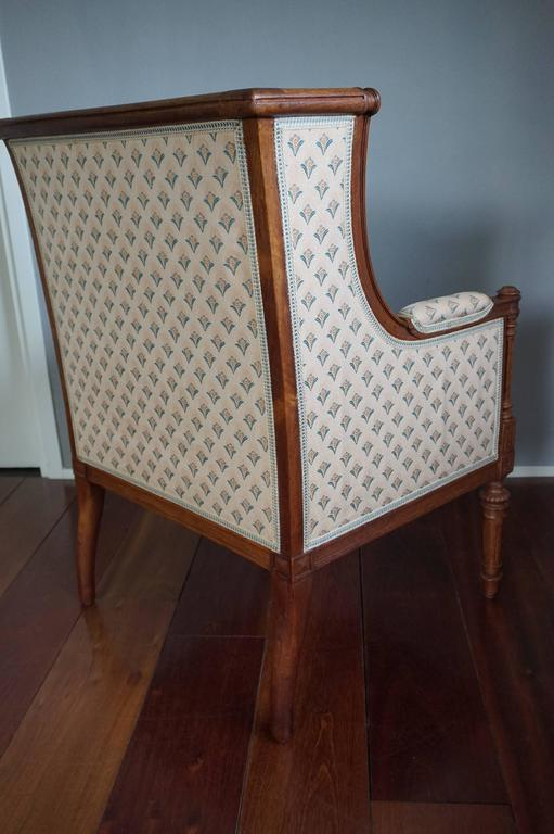 Antique Louis XVI Style Hand Carved Nutwood Ladies Bergere Small Armchair  For Sale 2