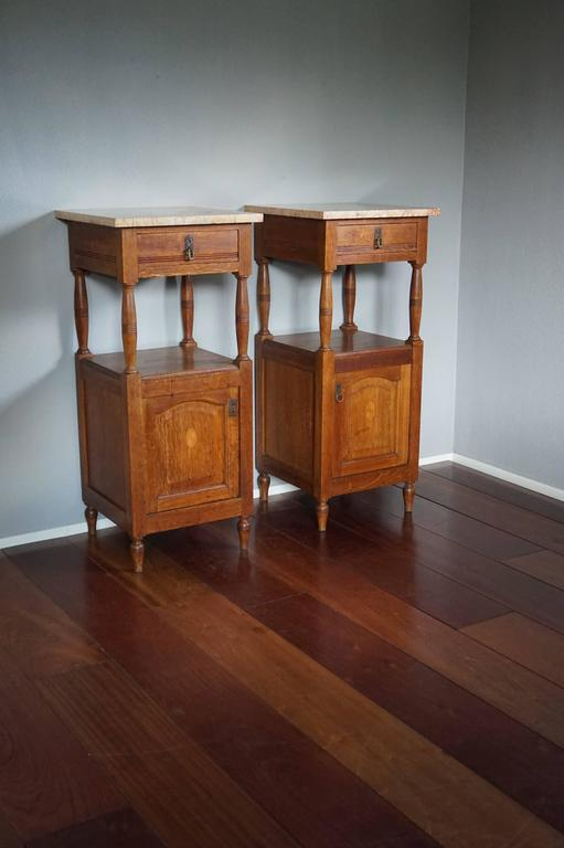 Antique Tall And Inlaid Solid Oak Bedside Cabinets With