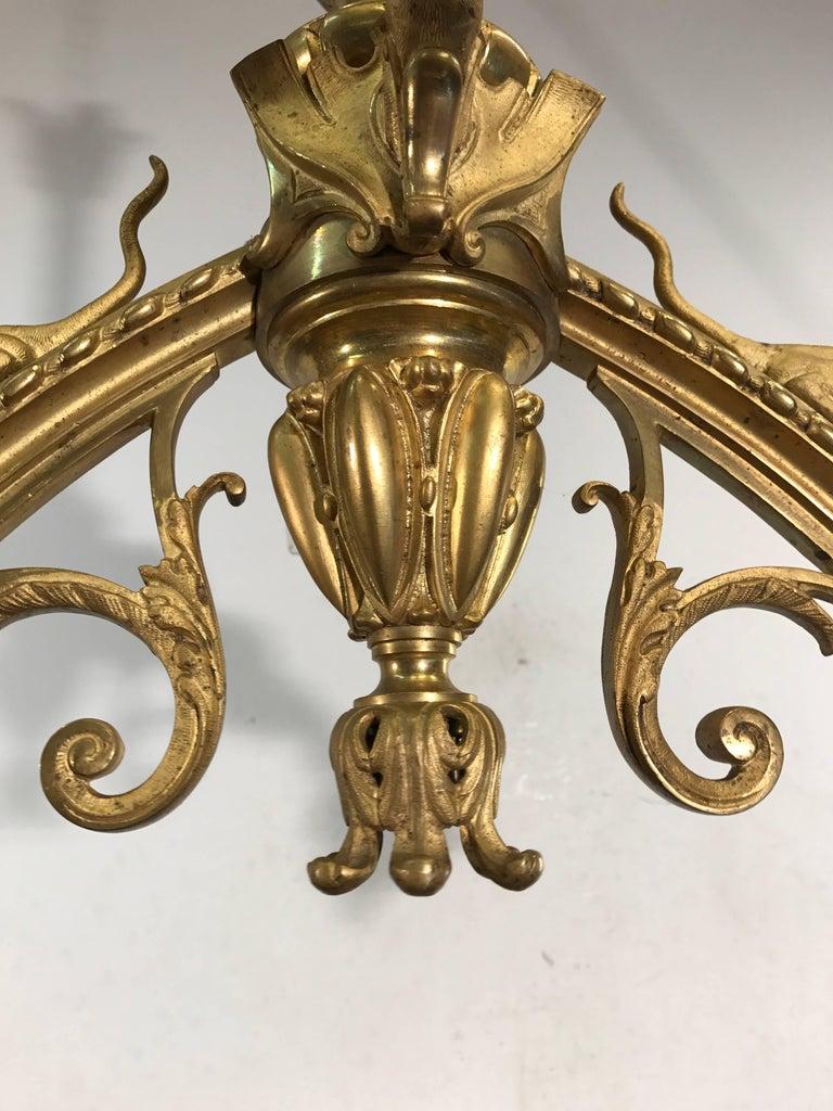 19th Century Antique Fire Gilt Bronze Pendant / Chandelier with Rare Mythological Creatures For Sale