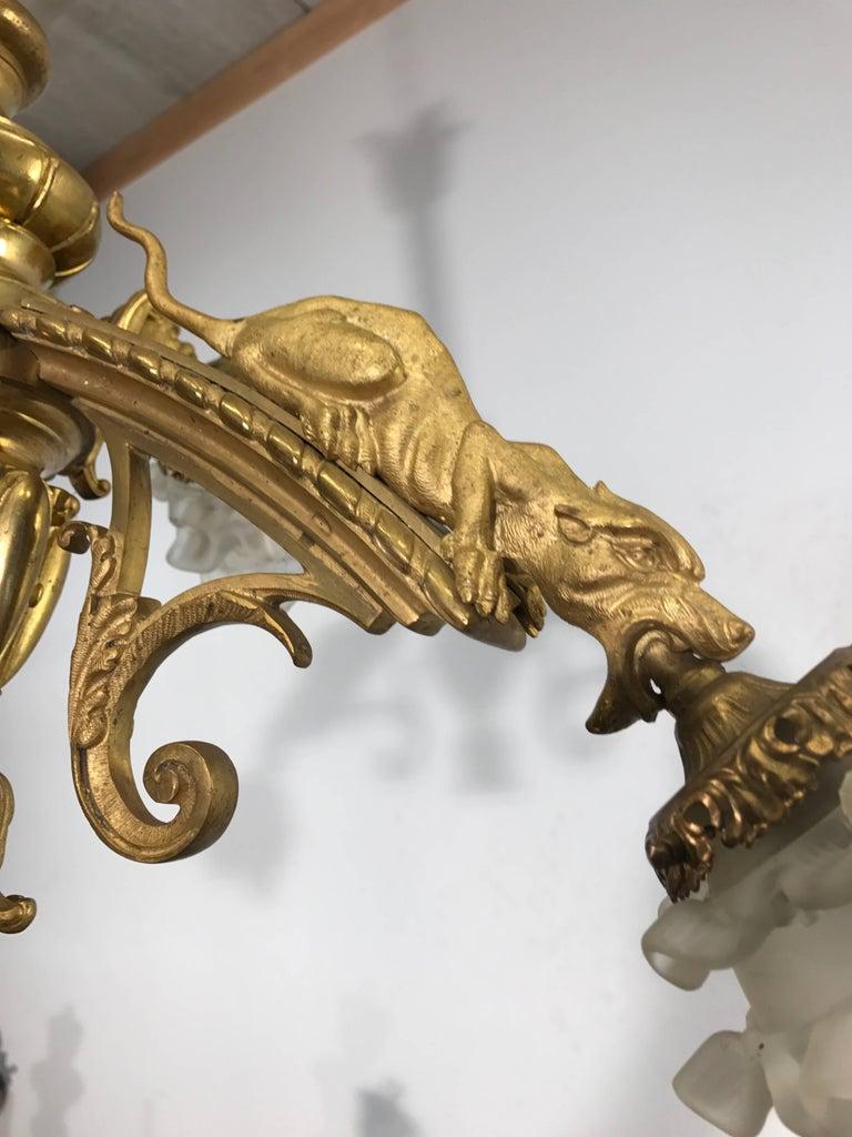 Antique Fire Gilt Bronze Pendant / Chandelier with Rare Mythological Creatures For Sale 3