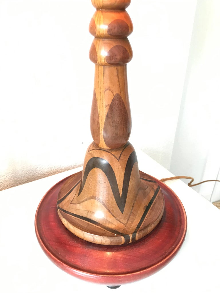 Rare and hand crafted art deco desk or table lamp with for Crafting wooden lamps