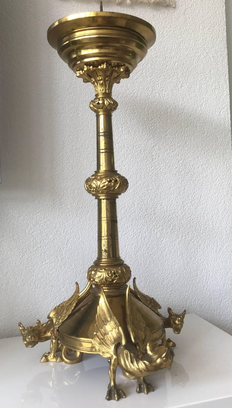 Brass Impressive Sizable Antique French Gilt Bronze Gothic Revival Chimera Candlestick For Sale